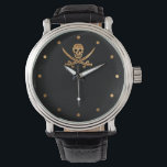 """Gold Jolly Roger Wrist Watch<br><div class=""""desc"""">Shiny gold colored skull and crossed swords on black.  For the discriminating pirate.</div>"""
