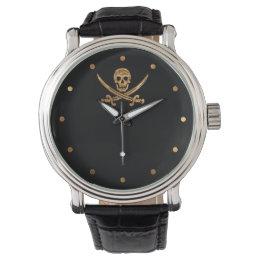Gold Jolly Roger Wrist Watch