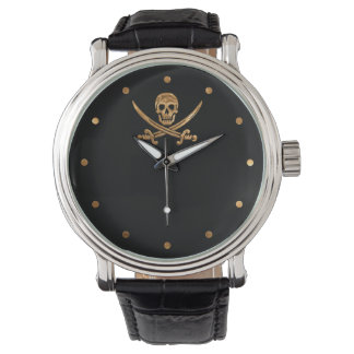 Gold Jolly Roger Wrist Watch