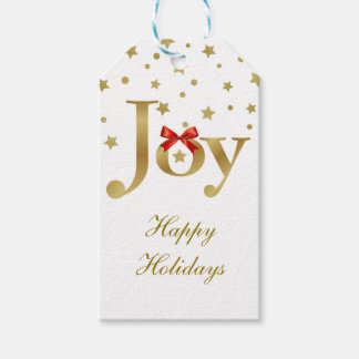 Gold Joy and Stars Happy Holidays Gift Tags