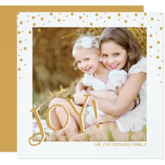 Gold Joy Square Photo Holiday Card Greeting