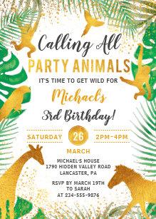Gold Jungle Animals Safari Boys Birthday Invitation