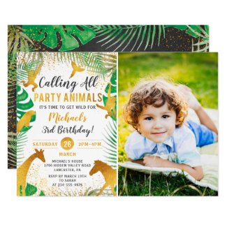 Gold Jungle Animals Safari Boys Photo Birthday Invitation