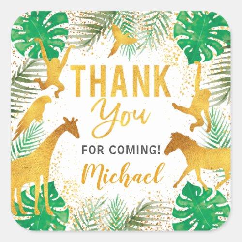 Gold Jungle Animals Safari Party Thank You Square Sticker