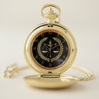 Gold justice law emblem balance scales design 2 pocket watch