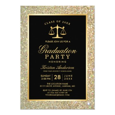 Lawyer Themed Gold Justice Scale Law School Graduation Party Card