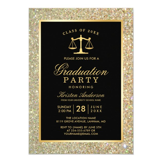 Gold Justice Scale Law School Graduation Party Card