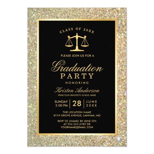 Gold Justice Scale Law School Graduation Party Invitation Zazzle Com