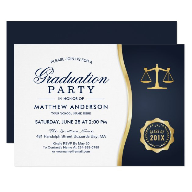 Personalized law school graduation invitations custominvitations4u gold justice wreath law school graduation party card filmwisefo