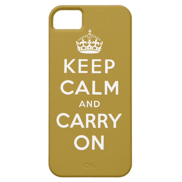 Gold Keep Calm and Carry On iPhone 5 Case