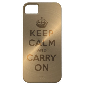 Gold Keep Calm And Carry On iPhone 5 Cover