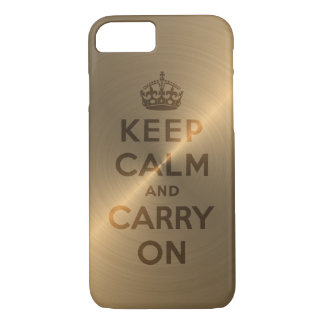 Gold Keep Calm And Carry On iPhone 7 Case