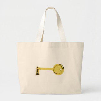 Gold key in keyhole large tote bag