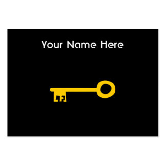 Gold Key on Black. Custom Large Business Card