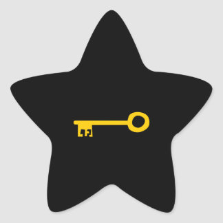 Gold Key on Black. Star Sticker