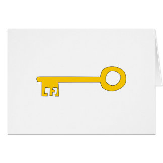 Gold Key on White. Card
