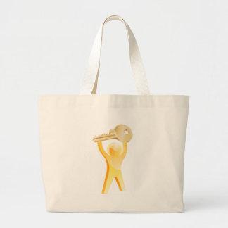 Gold key person concept canvas bag