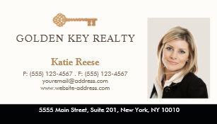 gold key real estate agent photo business card - Real Estate Agent Business Cards