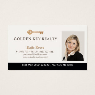 Real estate agent business cards templates zazzle gold key real estate agent photo business card colourmoves