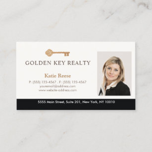 Real estate agent business cards zazzle gold key real estate agent photo business card reheart Images