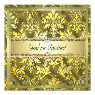 Gold Khaki Damask Faux Silk Template Custom Invitation