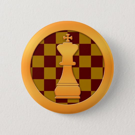 Gold King Chess Piece Button