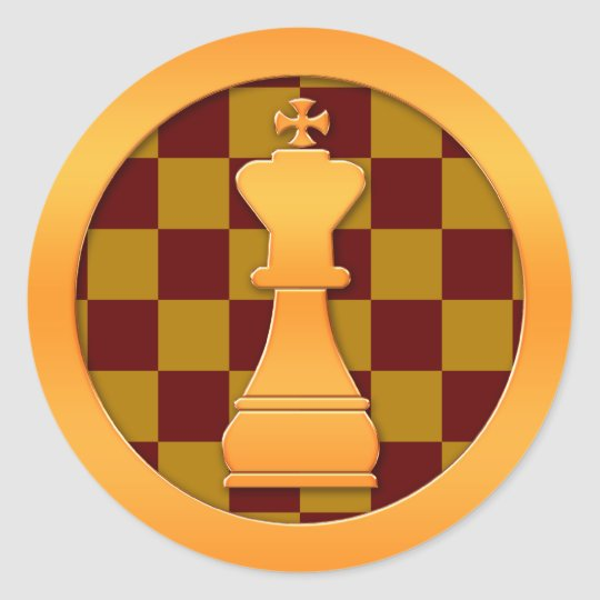 Gold King Chess Piece Classic Round Sticker