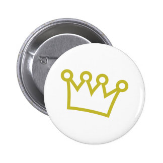 gold king crown deluxe pinback button