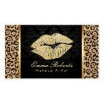 Gold Kiss Leopard Print Damask Makeup Artist Business Card