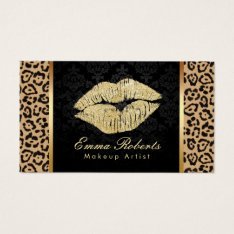 Gold Kiss Leopard Print Damask Makeup Artist Business Card at Zazzle