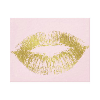 Gold Kiss Lips Canvas Print