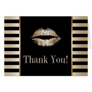Gold Kiss Modern Black & Gold Stripes Thank You Card
