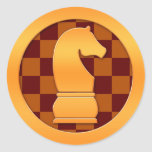 Gold Knight Chess Piece Round Stickers