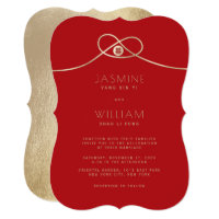 Gold Knot Double Happiness Chinese Wedding Invite