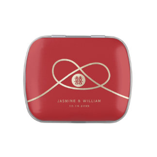 Gold Knot Double Happiness Chinese Wedding Tin Box Jelly Belly Tin