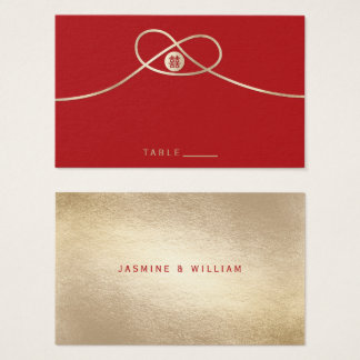 Gold Knot Double Happiness Red Wedding Place Card