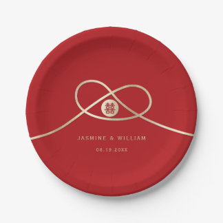 Gold Knot Double Happiness Wedding Paper Plates