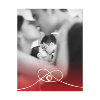 Gold Knot Double Happiness Wedding Photo Canvas
