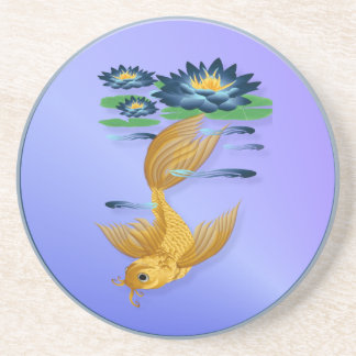 Gold Koi and Deep Blue Lilies Coasters