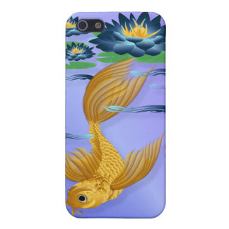 Gold Koi and Deep Blue Lilies  iPhone 5 Case