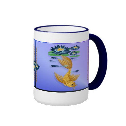 Gold Koi and Deep Blue Lilies  Mugs