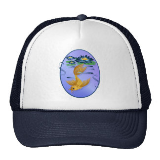 Gold Koi and Deep Blue Lilies Oval Hats