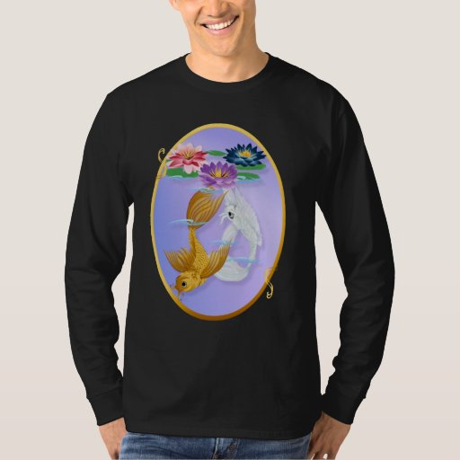 Gold Koi and Deep Blue Lilies Oval T-Shirts