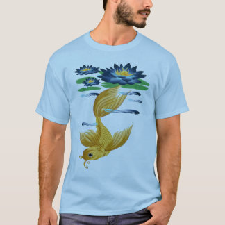 Gold Koi and Deep Blue Lilies T-Shirts