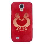 Gold Kokopelli Falsh Leather IPhone3 Case Samsung Galaxy S4 Case