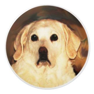 Gold Labrador Dog Ceramic Knob