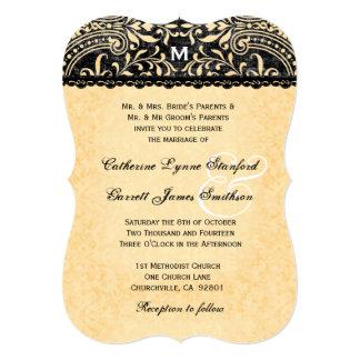 Gold Lace and Black Vintage Damask Wedding V08 Card