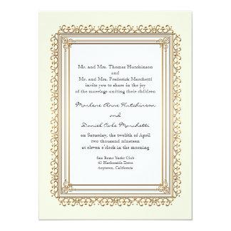 "Gold & Lace Baroque Formal Elegant Wedding Invite 5.5"" X 7.5"" Invitation Card"