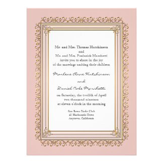 Gold Lace Baroque Formal Elegant Wedding Invite