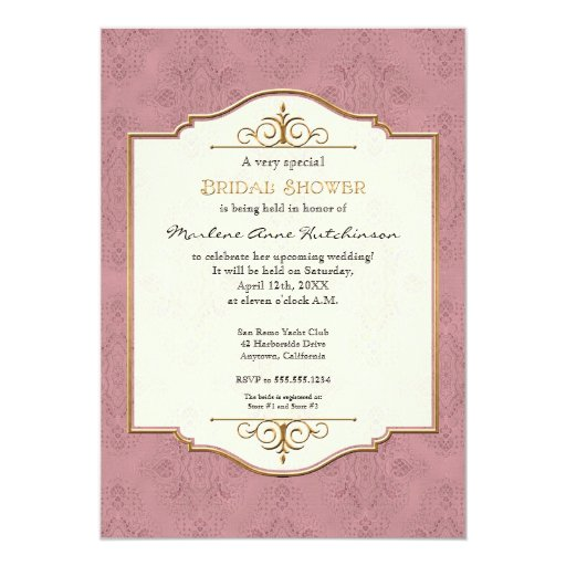 Gold & Lace Classic Formal Elegant Bridal Shower 5x7 Paper Invitation Card